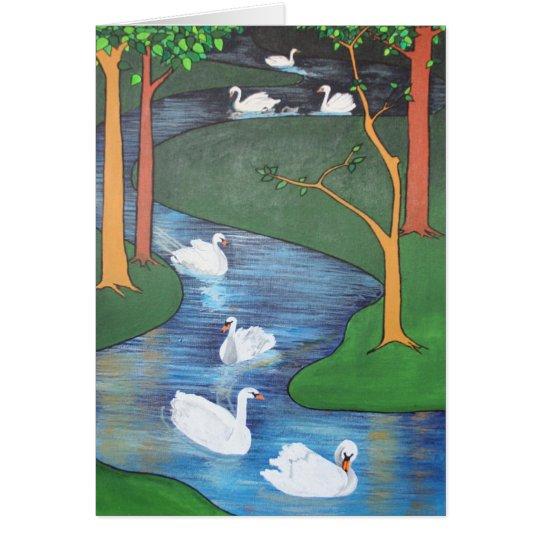 Uno-Natación de siete cisnes Tarjeta De Felicitación