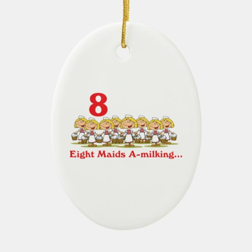 uno-ordeño de 12 criadas de los días ocho adorno navideño ovalado de cerámica