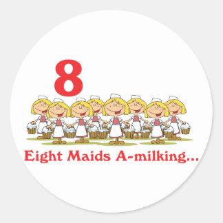 uno-ordeño de 12 criadas de los días ocho pegatina redonda
