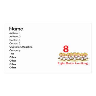uno-ordeño de 12 criadas de los días ocho tarjetas de visita