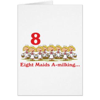 uno-ordeño de 12 criadas de los días ocho tarjeta de felicitación