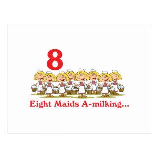 uno-ordeño de 12 criadas de los días ocho tarjetas postales