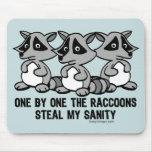 Uno por uno los mapaches tapete de raton