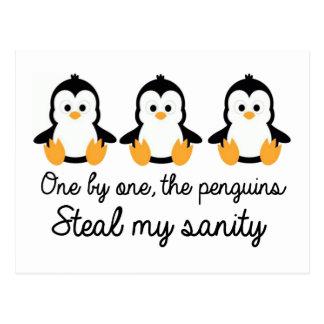 Uno por uno los pingüinos roban mi cordura postal