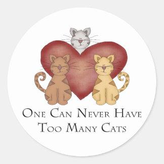 Uno puede nunca tener demasiados gatos pegatina redonda