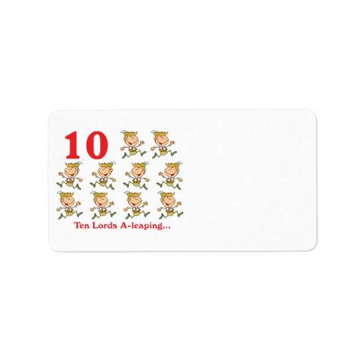 uno-salto de 12 señores de los días diez etiquetas de dirección