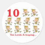 uno-salto de 12 señores de los días diez etiquetas redondas