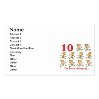 uno-salto de 12 señores de los días diez tarjetas de visita