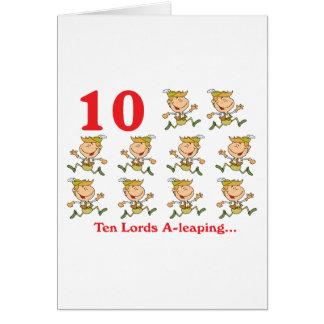 uno-salto de 12 señores de los días diez tarjeta de felicitación