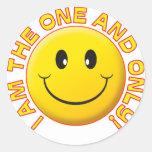 Uno y solamente sonrisa etiquetas redondas
