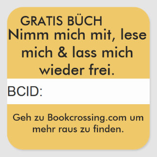 Unoffizieler Bookcrossing Aufkleber Square Sticker