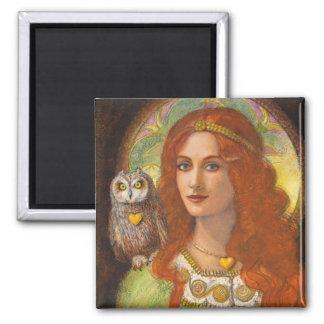 Unos sabios búho y señora célticos imán cuadrado
