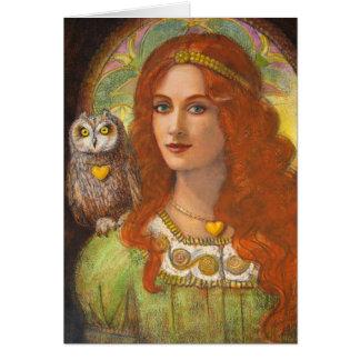 Unos sabios búho y señora célticos tarjeta de felicitación