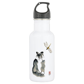 Unpalatable Insect [dragonfly] and Gray Kitten Water Bottle
