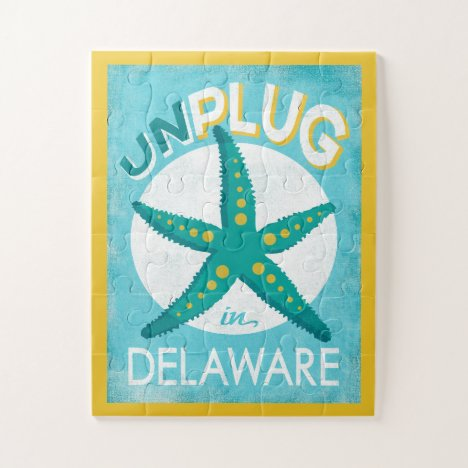 Unplug In Delaware Starfish Beach Nautical Jigsaw Puzzle