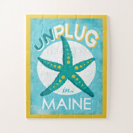 Unplug In Maine Starfish Beach Nautical Jigsaw Puzzle