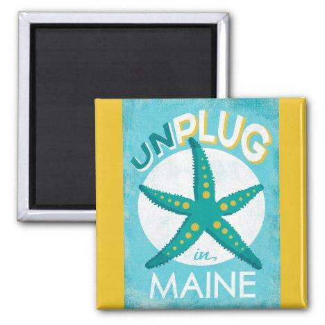 Unplug In Maine Starfish Beach Nautical Magnet