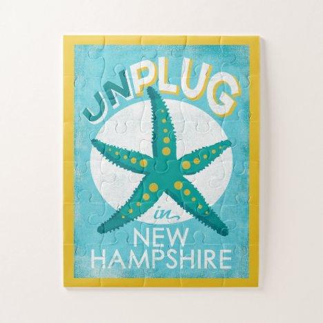 Unplug In New Hampshire Starfish Beach Nautical Jigsaw Puzzle