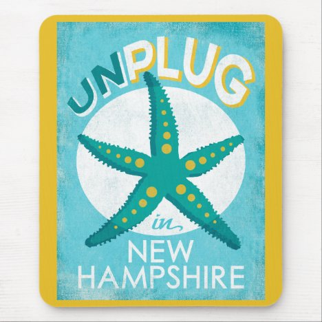 Unplug In New Hampshire Starfish Beach Nautical Mouse Pad