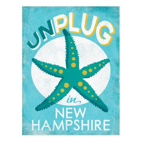 Unplug In New Hampshire Starfish Beach Nautical Postcard