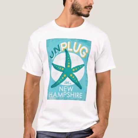 Unplug In New Hampshire Starfish Beach Nautical T-Shirt