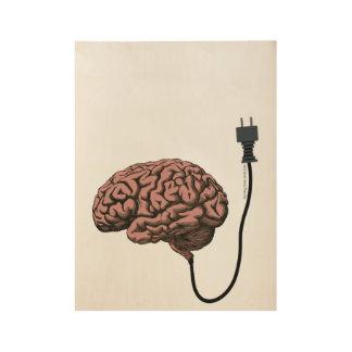 Unplugged Brain Steampunk Curiosity Anatomy Wood Poster