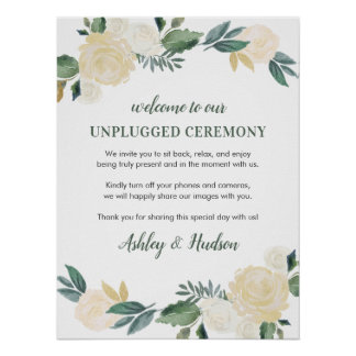Unplugged Ceremony Poster | Neutral Blooms