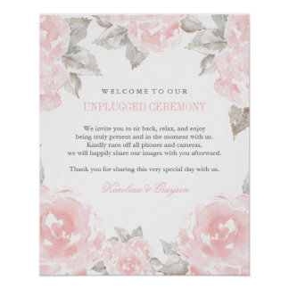 Unplugged Ceremony Sign | Watercolor Roses Poster
