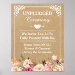 Unplugged Ceremony Wedding Sign Floral Kraft Poster