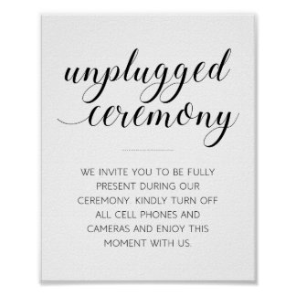 Unplugged Wedding Ceremony Sign - Alejandra Poster