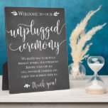 """Unplugged Wedding Ceremony Sign Plaque 8x10<br><div class=""""desc"""">Perfect sign to remind guests to turn off their phones for your rustic ceremony!</div>"""