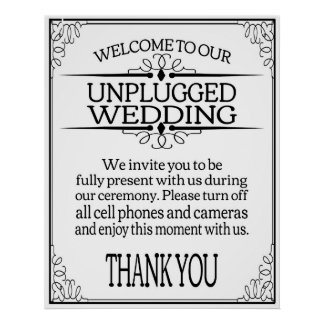 Unplugged Wedding sign print