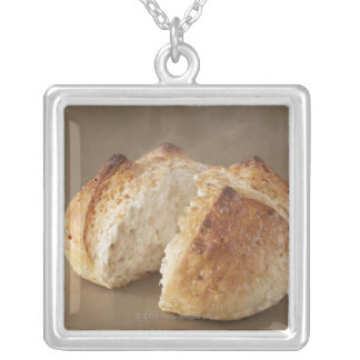 Unpolished rice Bakery?with steam. Silver Plated Necklace