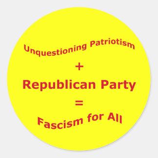 Unquestioning Patriotism Classic Round Sticker
