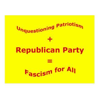 Unquestioning Patriotism Postcard