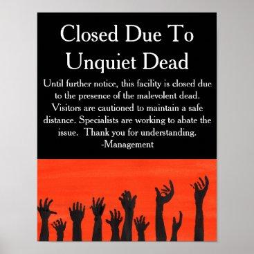 Halloween Themed Unquiet Dead Warning Poster