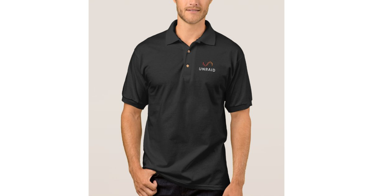 Unraid Black Polo Shirt | Zazzle com