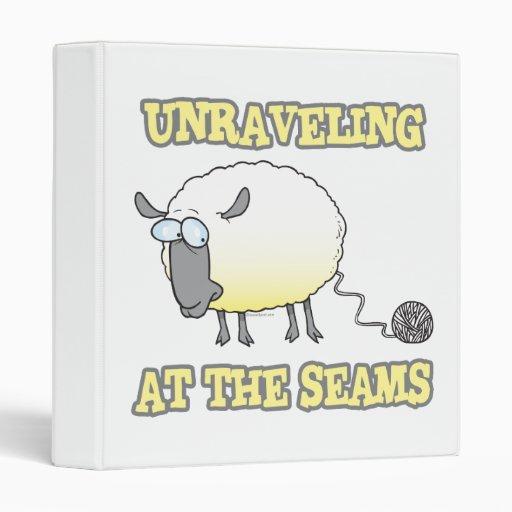unraveling at the seams funny sheep cartoon vinyl binder