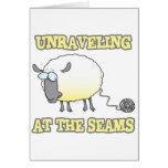 unraveling at the seams funny sheep cartoon greeting card