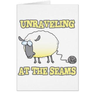 unraveling at the seams funny sheep cartoon card