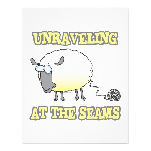 unraveling at the seams funny sheep cartoon flyer