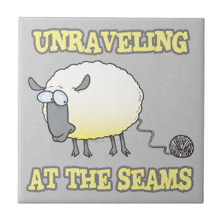 unraveling at the seams funny sheep cartoon ceramic tiles