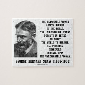 Unreasonable Woman Progress G. B. Shaw Quote Jigsaw Puzzle