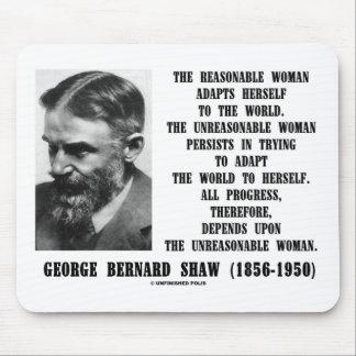 Unreasonable Woman Progress G. B. Shaw Quote Mouse Pad