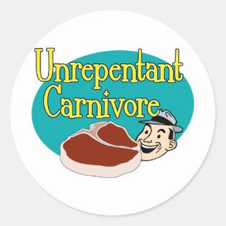 Unrepentant Carnivore Classic Round Sticker