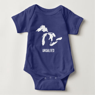 Unsalted Baby Dark Colors Funny Michigan Baby Bodysuit