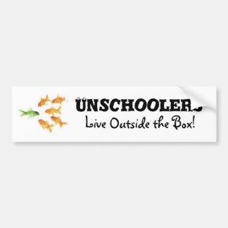 Unschoolers vivo fuera de la caja etiqueta de parachoque