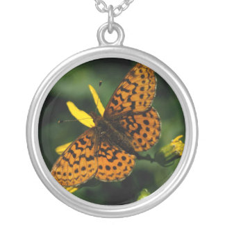 Unsilvered Fritillary Round Pendant Necklace