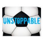 Unstoppable soccer football print postcard