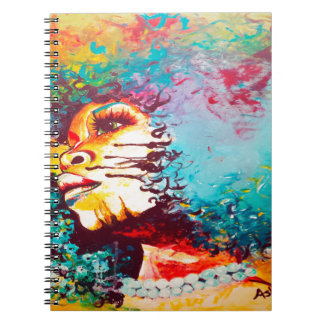 Unstrained Afro Blue Spiral Notebook